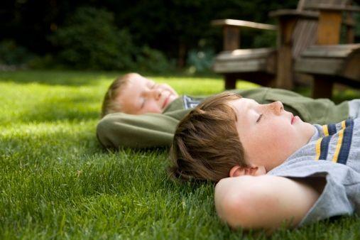 Young boys relaxing in mosquito free backyard